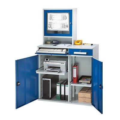 EUROKRAFT Computer-Arbeitsstation, Stahlblech - HxB 1770 x 1100 mm, mit Monitorgehäuse, Türfarbe lichtblau