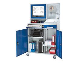 EUROKRAFT Computer-Arbeitsstation, Stahlblech - HxB 1770 x 1100 mm, mit Monitorgehäuse, Lochwand, Pultaufsatz