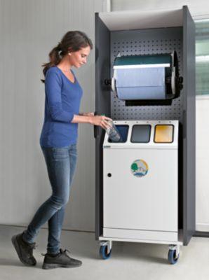 Reinigungs- und Abfallstation - Komplett mit Dreifach-Abfallsammler und Großrollenhalter