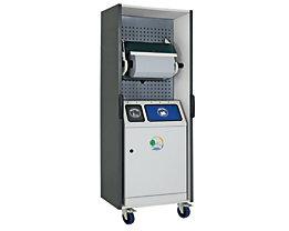 Reinigungs- und Abfallstation - Komplett mit Zweifach-Abfallsammler und Großrollenhalter