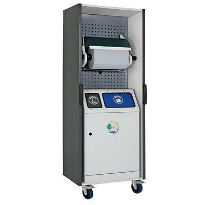 Poste de nettoyage et de tri des déchets - modèle complet avec double collecteur de déchets et support pour rouleau grand format