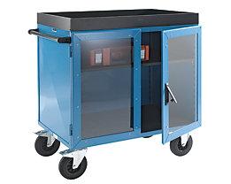 EUROKRAFT Schrankwagen KOMPAKT - Stahlblech 3-seitig, Türen mit Makrolon®-Scheiben