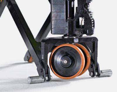 Scherengabelhubwagen, pulverbeschichtet - elektrohydraulisch, Batterie 12 V / 50 Ah - Tragfähigkeit 1000 kg