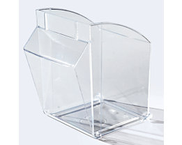 Bac pivotant en Styrolux - L x l x h 268 x 221 x 243 mm, lot de 2 - transparent