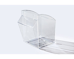 Bac pivotant en Styrolux - L x l x h 128 x 128 x 133 mm, lot de 8 - transparent