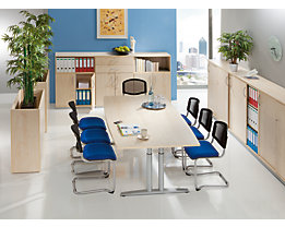 THEA Table de réunion - à piétement 4 pieds, longueur 1800 mm