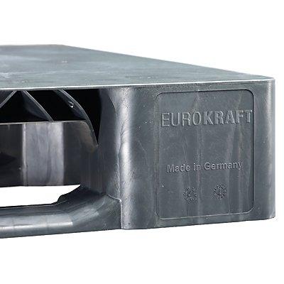EUROKRAFT Kunststoff-Kufenpalette - LxBxH 1200 x 1000 x 150 mm - grau