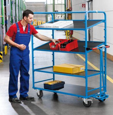 EUROKRAFT Regalwagen, 300 kg Tragfähigkeit - Etagenböden waagrecht oder schräg einhängbar - Ladefläche LxB 1310 x 640 mm