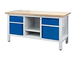 Werkbank - 2 Schubladen, 2 Türen, 1 offenes Fach mit Boden