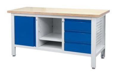 Werkbank - 3 Schubladen, 1 Tür, 1 offenes Fach mit Boden, BxT 1700 x 600 mm
