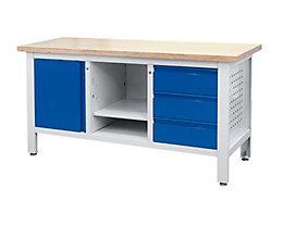 Werkbank - 3 Schubladen, 1 Tür, 1 offenes Fach mit Boden