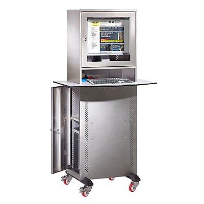 QUIPO Edelstahl-PC-Schrank - mit Arbeitsplatte BxT 900 x 600 mm, HxBxT 1625 x 600 x 350 mm
