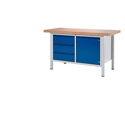 RAU Werkbank - 3 Schubladen, 1 Tür, Plattenbreite 1500 mm