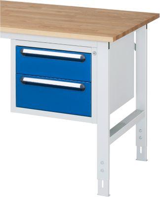 Unterbau-Container - Höhe 395 mm, 2 Schubladen, lichtgrau / enzianblau