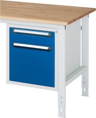 Unterbau-Container - Höhe 545 mm, 2 Schubladen, lichtgrau / enzianblau