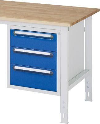 Unterbau-Container - Höhe 545 mm, 3 Schubladen, lichtgrau / enzianblau