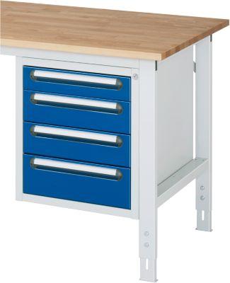 Unterbau-Container - Höhe 545 mm, 4 Schubladen, lichtgrau / enzianblau