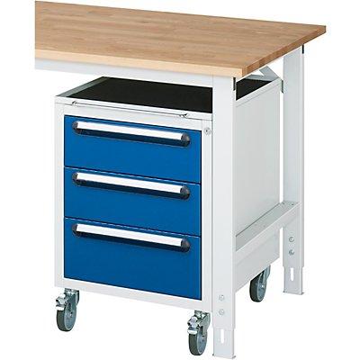 Roll-Container - HxBxT 690 x 490 x 600 mm, 3 Schubladen, lichtgrau / enzianblau
