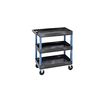 Mehrzweckwagen MULTI - LxBxH 895 x 460 x 950 mm, 3 Etagen, 3 Wannen, schwarz / blau