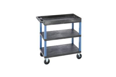 Mehrzweckwagen MULTI - LxBxH 895 x 460 x 895 mm, 3 Etagen, 1 Wanne, schwarz / blau