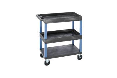 Mehrzweckwagen MULTI - LxBxH 895 x 460 x 950 mm, 3 Etagen, 2 Wannen, schwarz / blau