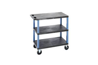 Mehrzweckwagen MULTI - LxBxH 895 x 460 x 895 mm, 3 Etagen, schwarz / blau