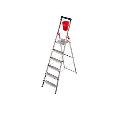 Alu-Stufenleiter - Tragfähigkeit 150 kg, mit Eimerhaken, 4 Stufen inkl  Plattform