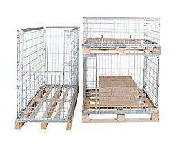 Gitter-Aufsatzrahmen für EUR-Tauschpalette - mit Klappe an 1 Frontwand, Nutzhöhe 850 mm