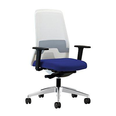interstuhl Operator-Drehstuhl EVERY, Netz-Rückenlehne weiß - Gestell brillantsilber, mit weichen Rollen