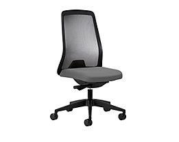 interstuhl Operator-Drehstuhl EVERY, Netz-Rückenlehne schwarz - Gestell schwarz, mit harten Rollen