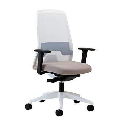 interstuhl Operator-Drehstuhl EVERY, Netz-Rückenlehne weiß - Gestell poliert, mit harten Rollen