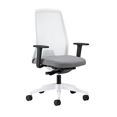 interstuhl Operator-Drehstuhl EVERY, Netz-Rückenlehne weiß - Gestell weiß, mit harten Rollen