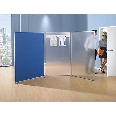 magnetoplan® Raumteiler - Acryl mit magnethaftender Leiste - HxBxT 1800 x 1000 x 500 mm
