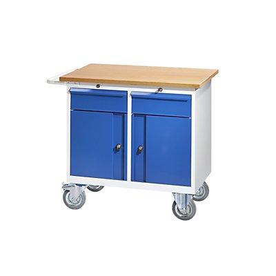 QUIPO Werkbank, fahrbar - mit 2 Schubladen, 2 Türen, BxT 950 x 590 mm