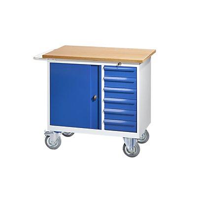 QUIPO Werkbank, fahrbar - mit 6 Schubladen, 1 Tür, BxT 950 x 590 mm