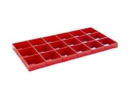 Lista Einteilungsmaterial - Polystyrol-Einsatzkästen, rot, für Schubladen-Fronthöhe 75 mm