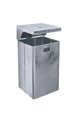 Abfallbehälter für außen, feuerverzinkt - Ascher integriert