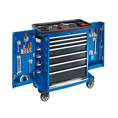Werkzeugwagen JUMBO, 7 Schubladen, 2 Seitenflügel einklappbar, HxBxT 1028 x 890 x 530 mm, blau