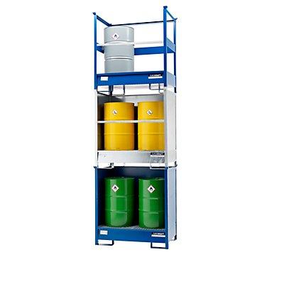 Denios EUROKRAFT Fass-Auffangwanne für Transport und Lagerung - Rücken- und Seitenwände geschlossen, stapelbar