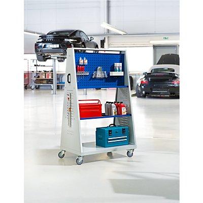 Werkzeugmobil, 2 Lochplatten, 2 Ablageböden, HxLxB 1690 x 1052 x 629 mm