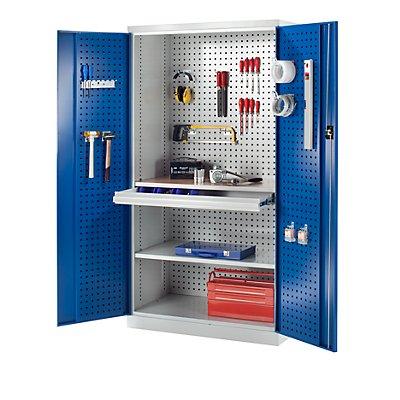 Werkzeugschrank mit Lochprägung - 1 Schublade, 1 Fachboden, 1 Arbeitsplatte