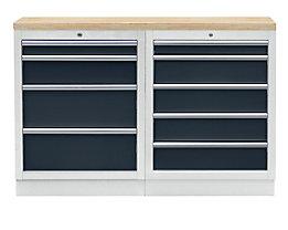 Werkbank mit 2 Schubladenschränken - mit Multiplex-Arbeitsplatte
