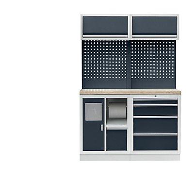 Werkstattschranksystem mit Abfall- und Reinigungs-Center, BxT 1360 x 460 mm, lichtgrau / anthrazitgrau