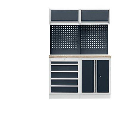 Werkstattschranksystem mit Flügeltür- und Schubladenunterschrank, BxT 1360 x 460 mm, lichtgrau / anthrazitgrau