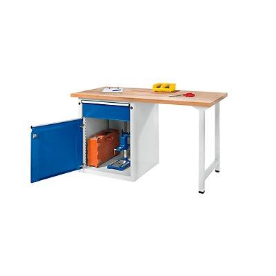 ANKE Werkbank, stabil, 1 Schublade 180 mm, 1 Tür, Breite 1500 mm