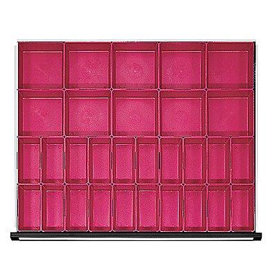 Kunststoff-Kleinteilekasten mit 40 Mulden, für Schrankbreite 910 mm für Schubladenhöhe 60 mm