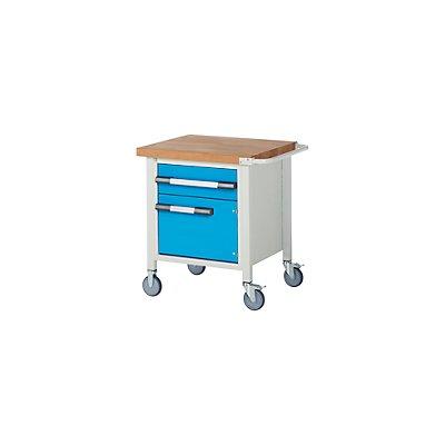 EUROKRAFT Werkbank, fahrbar, 1 Schublade, 1 Tür, Ablageboden