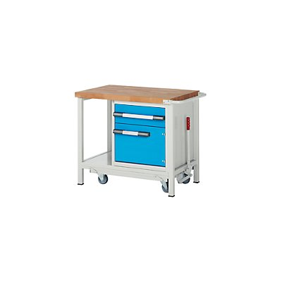 EUROKRAFT Werkbank, fahrbar, 1 Schublade, 1 Tür, Ablageboden, absenkbar