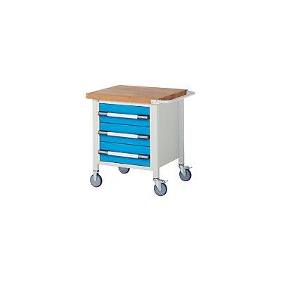 EUROKRAFT Werkbank, fahrbar, 3 Schubladen, Ablageboden