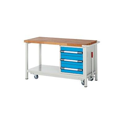 EUROKRAFT Werkbank, fahrbar, 3 Schubladen, Ablageboden, absenkbar